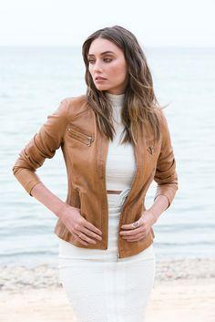 Model wears New York Leather Jacket, Size 8 in Camel