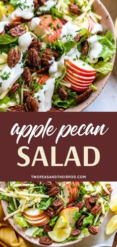 This Apple Pecan Salad with Creamy Lemon Dressing is a fall favorite and always a hit at potlucks, Thanksgiving, and dinner parties! Deliciously healthy salad recipe for a crowd! for a crowd Apple Pecan Salad with Creamy Lemon Dressing Lemon Dressing Recipes, Fresh Salad Recipes, Shrimp Salad Recipes, Side Salad Recipes, Salad Recipes For Dinner, Healthy Salad Recipes, Best Dinner Party Recipes, Winter Salad Recipes, Salad Recipes For Parties