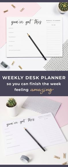 Start planning an awesome week ahead, with these super cool, motivational weekly planner pads! The 'You've Got This' design features the days of the week along with a very handy tick box 'to do' list. Each A4 Weekly Desk Pad contains 50 pages with the same design printed on every page. The weekly desk planner pad would make a brilliant addition to your desk as well and would also make a rather awesome gift for stationery lovers.#ad #etsy #planner #planneraddict #plannerlove #plannergirl