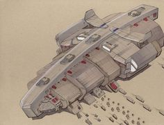 Been playing a lot of Star Wars: The Old Republic recently and had a hankering to draw some spaceships. This is a pretty basic freighter (maybe a courier - it does have pretty big engine blocks).