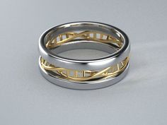 A perfect gift for your scientist friend for DNA Day (April 25) or any other day! Gold and Silver Double Helix ring.