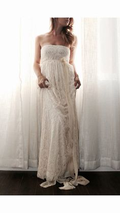 Wedding Dress Strapless In Lace With Chiffon by whiteromance, $450.00