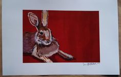 Brown Bunny on Dark Red Limited Edition Print by zouzousbasement