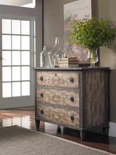 Living Room Accents Handpainted 3 Drawer Media Chest With Drop Front Top  Drawer By Hamilton