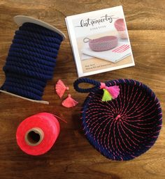 Coil rope bowl tutorial and materials. Woven rope basket making kit and instructions DIY  with two tassels included