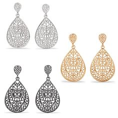 Delicate filigree tear drop shaped earrings in your choice of goldtone, silvertone, or hematite. Regularly $14.99, buy Avon Jewelry online at http://eseagren.avonrepresentative.com