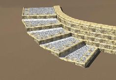 retaining wall ideas - Curved Steps with Corners Parallel to the Retaining Wall