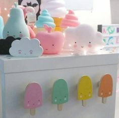 Sweet Popsicles on the wall?  Kawaii hooks by @alittlelovelycompany are available at Minimodel Gallery (as linked in profile). #minimodelgallery #kidsdesign #kidsdecor #popsicle #fun #lightbox #pastel #smileyclouds #modernkids #kidspace #shopmmg #shipworldwide