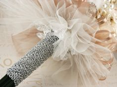 Brooch Bridal Bouquet Jeweled in Blush Pink, Cream and Ivory