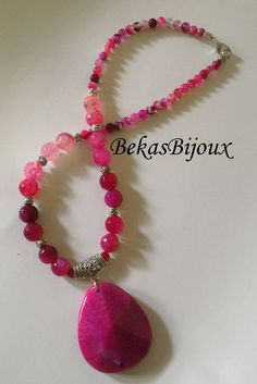Gemstone Necklace, Pendant Necklace, Agate Pendant Necklace, Beaded Necklace, Agate Necklace, Charm Necklace, Energy Jewerly by BekasBijoux on Etsy