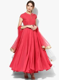 Sangria Coral Cotton Anarkali With Mirror Embroidered Belt With Palazzo And Dupatta