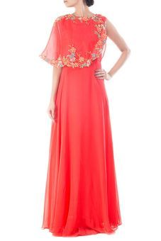 Coral Peach Cape Gown by Anushree Agarwal, Ethnic Gowns  #ethnic #indian #gown #indo #western #indowestern #bridesmaid #wedding #sangeet #embroidery #embroidered #cape #women #womenswear #engagement #reception #anarkali #dresses #traditional #long #designer #with cape #bollywood #2016 #2017 #prom #modern #classy #elegant #fashion #style #unique #couture #ideas #india #outfit ready to wear #the bride