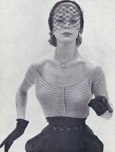 Vintage Knitting PATTERN to make Scoop Neck Knitted Evening Blouse NomottaEveningBlouse