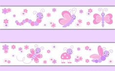 Butterfly Ladybug Wallpaper Border Wall Art Decal Pink Purple