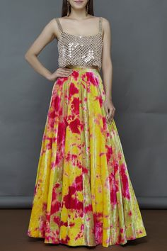 Buy Tie-Dye Lehenga with Blouse by Akanksha Gajria at Aza Fashions - Buy Tie-Dye Lehenga with Blouse by Akanksha Gajria at Aza Fashions Source by - Dress Indian Style, Indian Fashion Dresses, Indian Designer Outfits, Designer Dresses, Choli Dress, Lehenga Skirt, Ghagra Choli, Lehenga Choli Designs, Kurta Designs