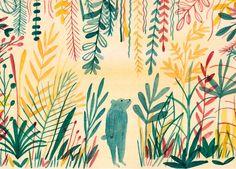 Affiche illustration ours thème jungle, végétation, plantes - Marion Barraud