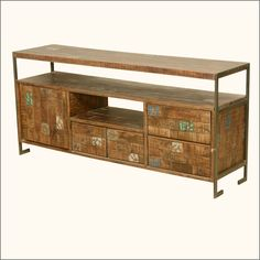 Retro Industrial Reclaimed Wood & Iron Rustic Media Console Tv Stand