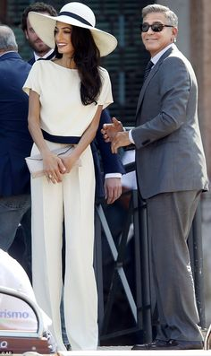 Mrs.Clooney looking incredible in all white