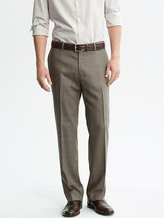 Classic-Fit Textured Taupe Cotton Dress Pant | Banana Republic