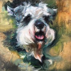 Custom Pet Portrait of Jasper, Schnauzer Painting, Oil on Canvas Panel by Heather Lenefsky