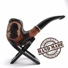 Wooden Tobacco Smoking Pipe Handwork Carved Sherlock Holmes