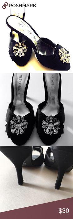 Metaphor black heels Rhinestone Sz 6.5M. Worn once inside. Excellent like new condition. Metaphor Shoes Heels