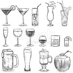 Vector Set of Sketch Cocktails and Alcohol Drinks royalty-free stock vector art