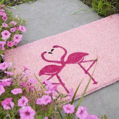Flamingos in Love Hand Woven Coconut Fiber Doormat - Valentine's Room Decor - Events