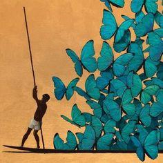 """Eu penso renovar o homem usando borboletas"" Art And Illustration, Pinturas Em Tom Pastel, Colombian Art, Artsy Fartsy, Art Decor, Cool Art, Art Drawings, Art Photography, Art Pieces"