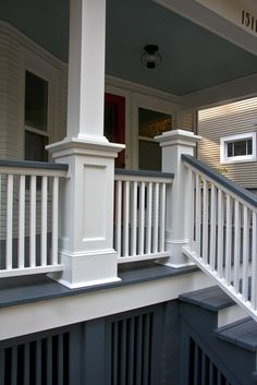"I presented my client with measured drawings of some different options for the newel posts. Her only request was that ""the tops be flat so that she could place her glass of wine there while s… Exterior Stair Railing, Porch Steps, Front Porch Stairs, Front Porch Posts, Front Porch Railings, Porch Remodel, Porch Stairs, Exterior Stairs, Front Porch Design"