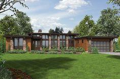 Plano de moderna casa de un piso, vidriada, 3 dormitorios