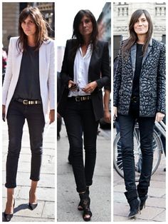 shoulders - heels - skinnies - muted palette - belt.  winning formula.  Emanuelle Alt