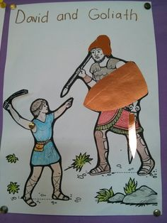 Lesson 23 David And Goliath Using A Template From Pintrest We Coloured The Picture In