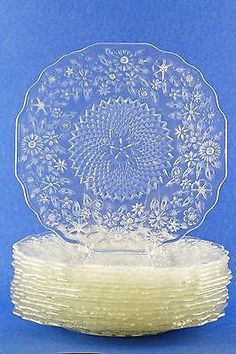 Depression Dinner Plate Pineapple & Floral Indiana Glass Pattern No. 618