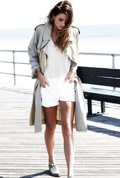 trench coat, white sheer knit, white shorts & sneakers #style #fashion #longhair