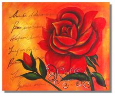 Deep red rose with poems background romance painting on canvas