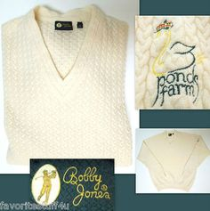 "Bobby Jones Golf Sweater ""3 Ponds Farm NY"" 100% Cashmere XL ~ Soft Medium Weight ~ Don't Miss Out!   SOLD"