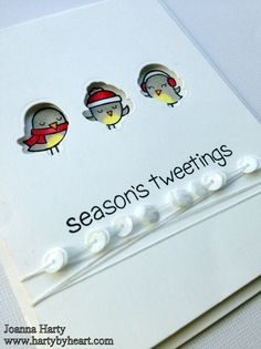 Cute card by Joanna - fun details: die cut shape windows, sequins on sewing thread Lawn Fawn - Winter Sparrows + coordinating dies
