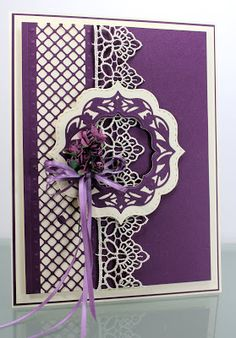 Happy Friday, A simple lattice card today where the colours ( hopefully) make all the drama. I stared by cutting the Creative Express. Sue Wilson, Tonic Cards, Purple Cards, Spellbinders Cards, Anna Griffin Cards, Scrap, Wedding Anniversary Cards, Card Making Techniques, Card Maker