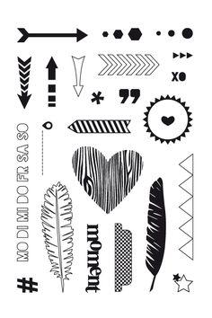 Clear Stamps Scrapperin - Form Herz Muster, Stencil Vorlagen, Herzform, Schriftarten, Schablonen