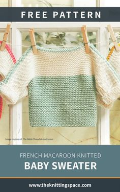 Diy Crafts - summercrafts,summerstyle-Add this charming French Macaroon knitted baby sweater to your little closet. Free Baby Sweater Knitting Patterns, Knit Baby Sweaters, Knitted Baby Clothes, Toddler Sweater, Easy Knitting, Baby Knits, Baby Clothes Patterns, Summer Wardrobe, Daily Wear