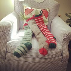 Farmhouse Christmas Stockings. Maine Woolies in Stripes & Solids. Ready for Santa to fill with magic goodies on Christmas eve.  www.swellcompany.com