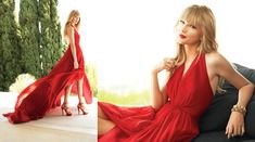 af041505a1 Taylor Swift s Red halter-neck gown in Delta Sky magazine. Outfit details   http