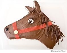 Horse Cake Design - Decorated with Chocolate Sprinkles, Chocolate Twizzlers, Jelly Beans, Wafers, Fruit Roll up and Junior Mints.