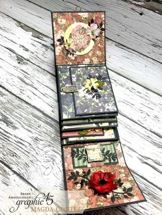 Unfold the Fun in this Floral Shoppe Mini Album - Magda's Cortez Farewell Post Papel Scrapbook, Mini Scrapbook Albums, Scrapbooking, Mini Photo Albums, Mini Albums Scrap, Graphic 45, Memory Album, Memory Books, Fabric Journals