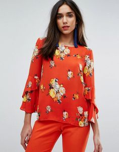 Warehouse Floral Print Fluted Sleeve Top - Multi