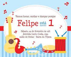 Resultado de imagem para festa infantil instrumentos musicais Music Party, Invitations, Sweet, Show, Gabriel, Music Themed Parties, School Parties, Pocoyo, Parties Kids