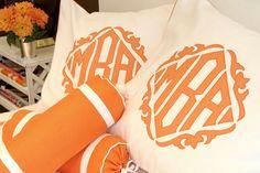 Orange monogrammed shams