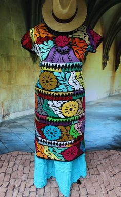 Very Fine Multi Color Jalapa Hand Embroidered Huipil Dress, Oaxaca Mexico Hippie…