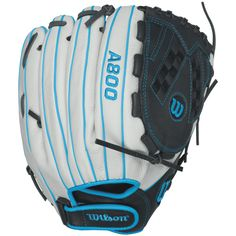 Wilson Aura Game Ready Fastpitch Softball Gloves, Ivory/Electric Blue, Right Hand Throw Girls Softball Gloves, Fastpitch Softball Gloves, Softball Bats, Softball Players, Baseball Gloves, Softball Stuff, Softball Equipment, Sports Equipment, Wilson Sport
